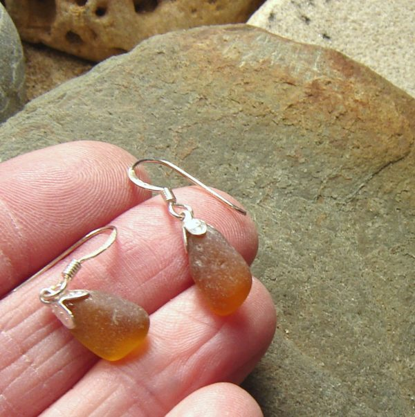 Light Amber Brown Sea Glass Earrings. English sea glass earrings, in sea glass from the Northumbrian coast of England, set in sterling silverlass earrings, in sea glass from the Northumbrian coast of England, set in sterling silver
