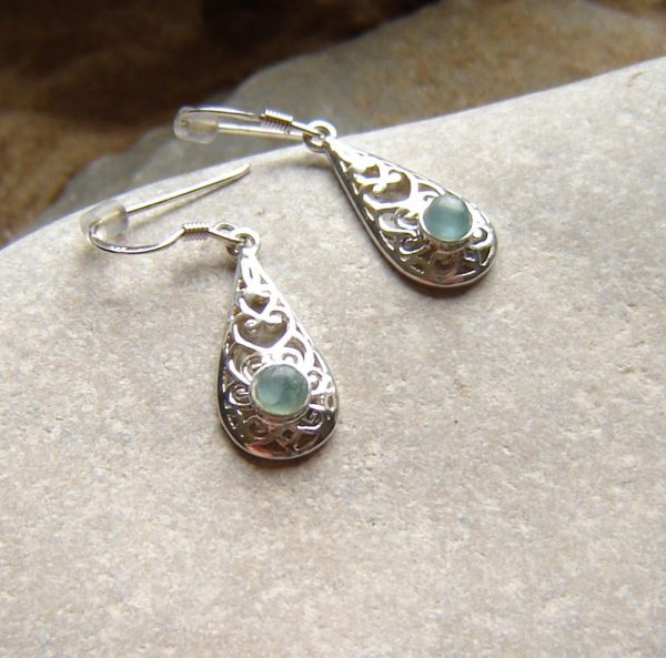 Natural Green Apatite Drop Earrings. Antique style earrings are in sterling silver filigree set with tiny apatite cabochons.