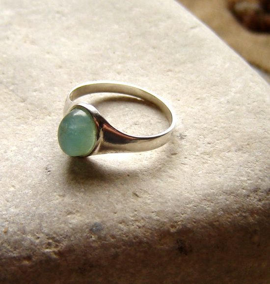 Apatite sterling silver seal ring