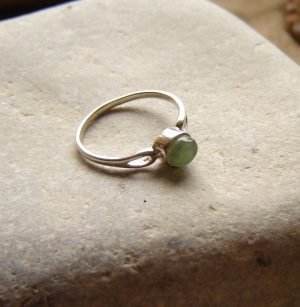 Natural Green Apatite Silver Ring set with a small, deep cabochon of semi-precious apatite, found, hand cut and finished here in the North East of England.