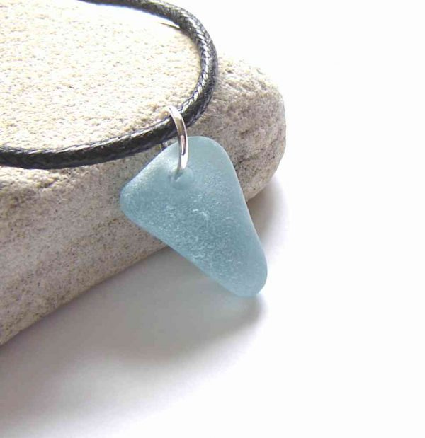 Aqua Blue English Sea Glass Choker Necklace. A Northumbrian sea glass choker pendant necklace handmade with rare aqua sea glass collected by hand on the north-east, Northumbrian coast of England. Unisex sea glass necklace.