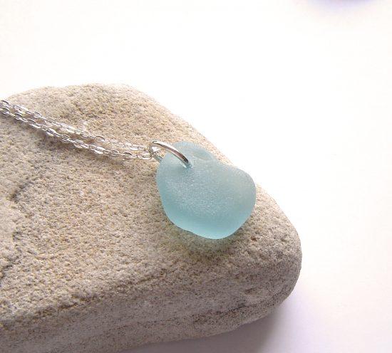 Aqua Blue Northumberland Sea Glass Necklace