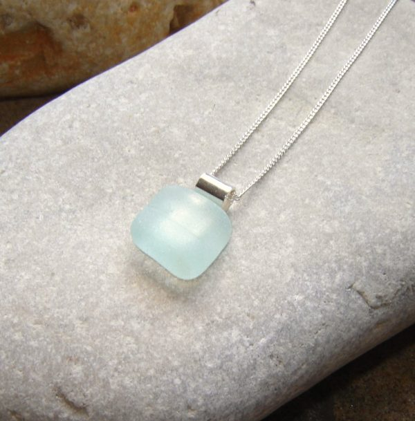 Geometric Blue White Sea Glass Pendant necklace, handmade in light blue sea glass hand-collected on the North East coast of England, United Kingdom.