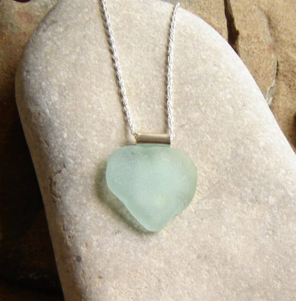 Large Aqua Sea Glass Heart Necklace in English sea glass hand-collected on the North East coast of England, United Kingdom.
