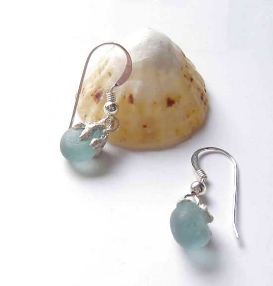 Aqua Sea Glass Coastal Inspired Silver Earrings, handmade in England.