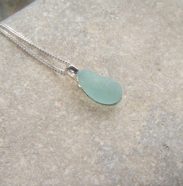 Small Aqua Blue Sea Glass Necklace. Aqua Blue Northumbrian Sea Glass Pendant Necklace, in sterling silver and genuine English sea glass hand-collected the North East coast of England