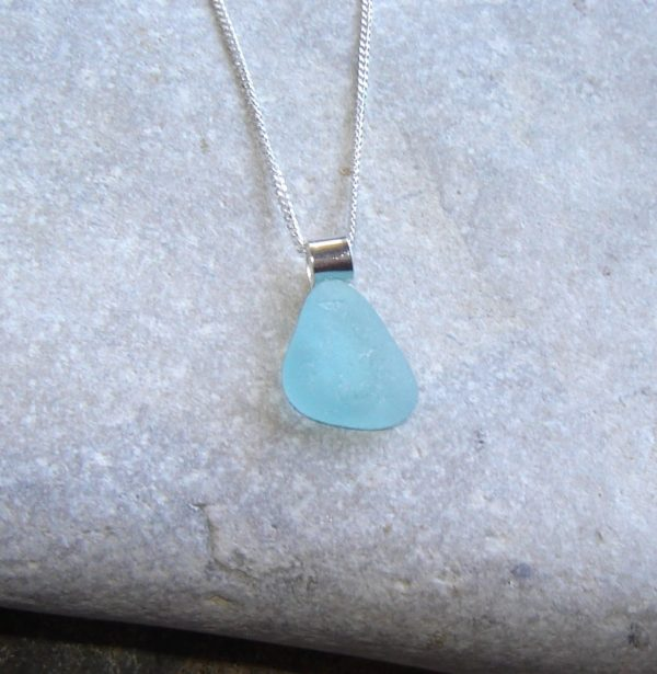 Aqua Sea Glass Triangle Necklace, handmade with seafoam sea glass which has been hand-collected on the North East coast of England