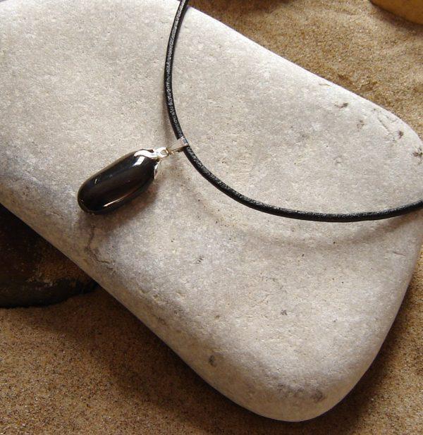Black Quartzite Choker Necklace. Black English stone choker pendant in natural black quartzite stone hand-collected on the North East coast.