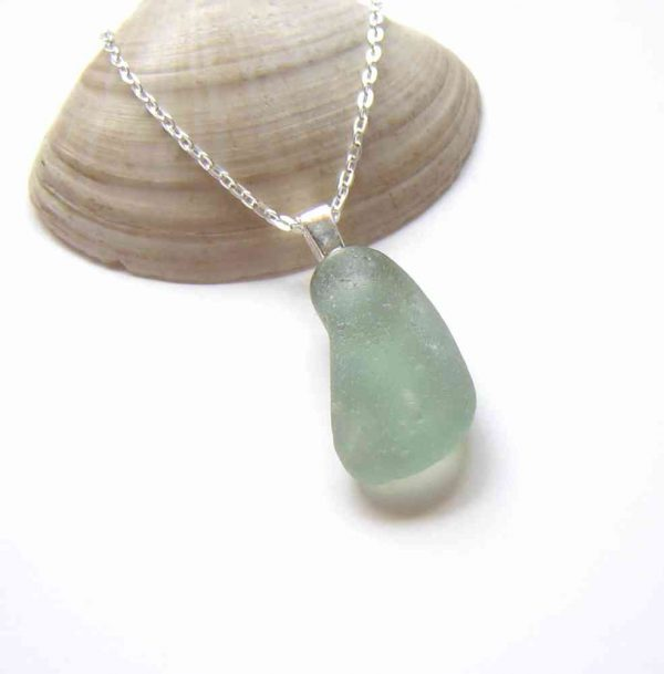 Blue Green Bubbles Sea Glass Pendant, handmade in English sea glass hand-collected in Seaham, North East England.