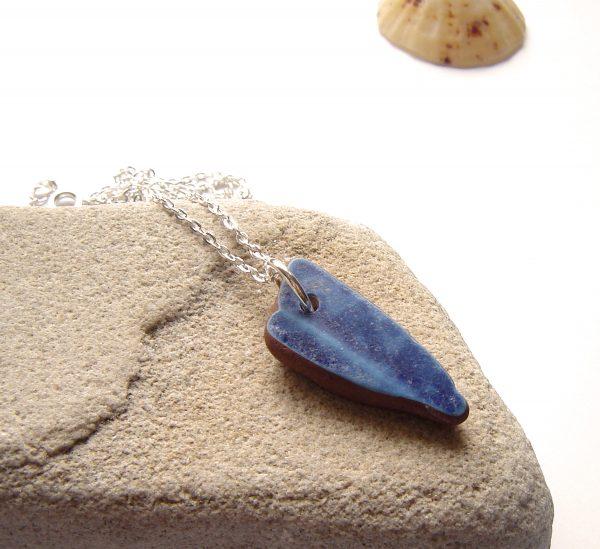 Blue Patterned Sea Pottery Pendant