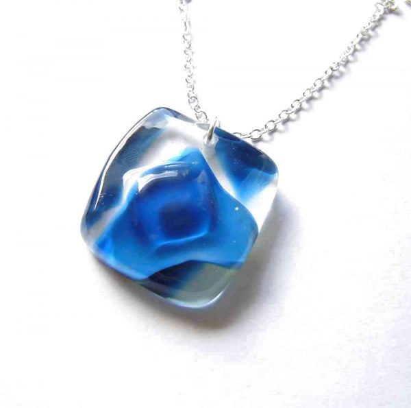 Blue Swirls Large Abstract Glass Pendant. Made in Britain, in the north of England.