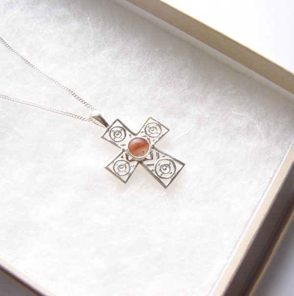 Natural Agate Sterling Silver Cross