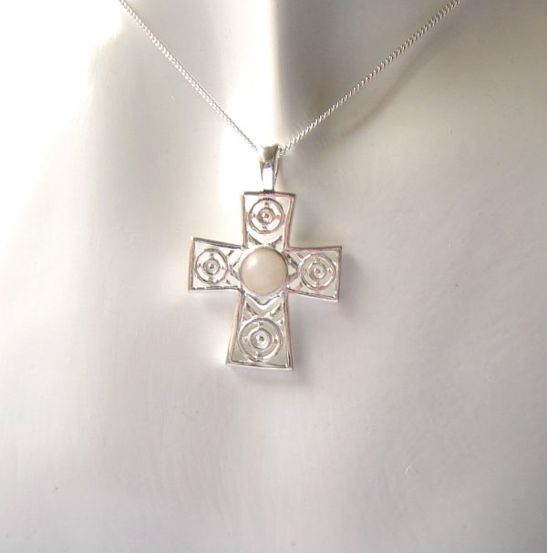Handcrafted Natural White Gemstone Cross