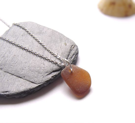 Brown Northumberland Sea Glass Pendant