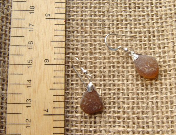 Amber Brown Frosted Sea Glass Earrings, made with genuine English sea glass washed up by the North Sea and hand-collected on the beaches of Northumbria.