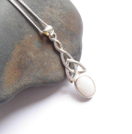 British Quartz White Celtic Knot Necklace