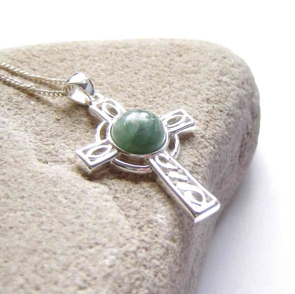 Celtic Cross Necklace in Natural Green Apatite collected on the North East, Northumbrian coast of England, United Kingdom.