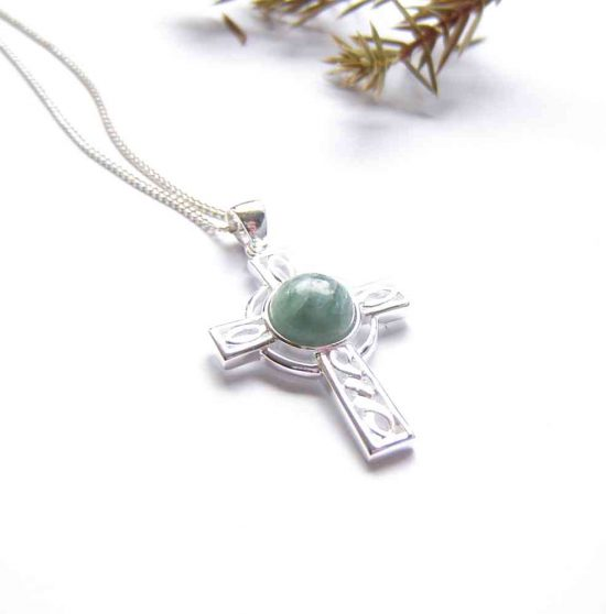 Celtic Cross Necklace in Natural Green Apatite collected on the North East, Northumbrian coast of England, United Kingdom