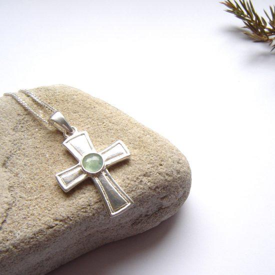 Green Gemstone Cross Pendant