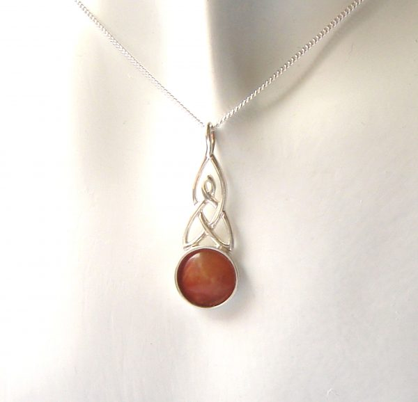 Celtic pendant handcrafted in natural British carnelian