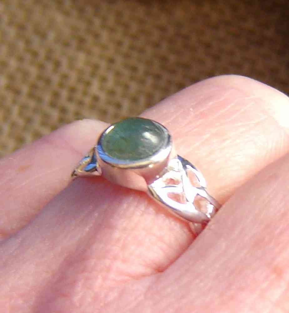 Celtic Knot Natural Apatite Silver Ring, handmade here in Britain.