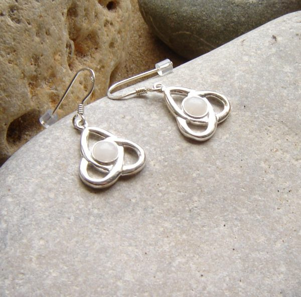 Celtic Trinity Knot Milky Quartz Earrings. Triple knot triskele earrings set with white natural British quartz hand collected in Northumbria, England.