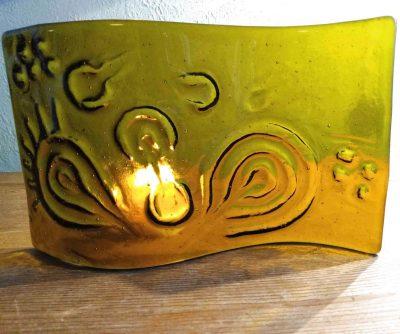 Free Standing Amber Glass Rock Art Sculpture or Light Catcher