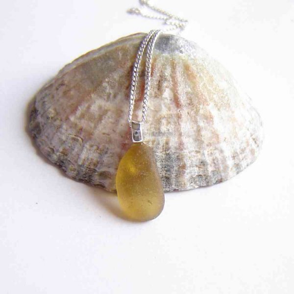 Citron Yellow Northumbrian Sea Glass Pendant. English Sea Glass Pendant Necklace made in sea glass hand-collected on the North East coast of England.