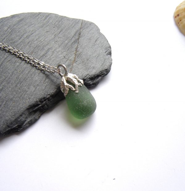 Coastal Inspired Green Seaglass Necklace