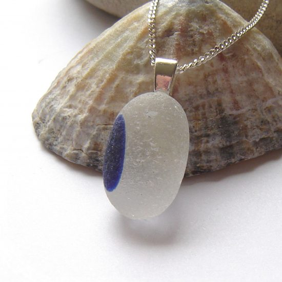 Cobalt Blue English Multi Sea Glass Pendant
