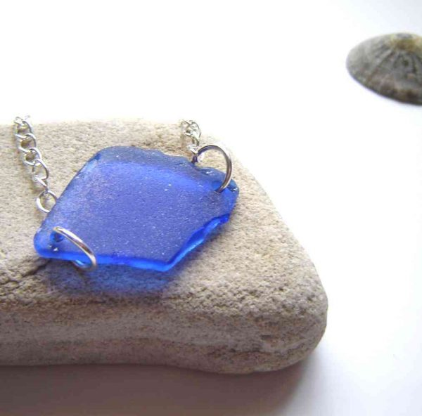 Cobalt Blue English Sea Glass Bracelet in genuine English sea glass which I have collected locally by hand on the Northumbrian coast of England, United Kingdom.