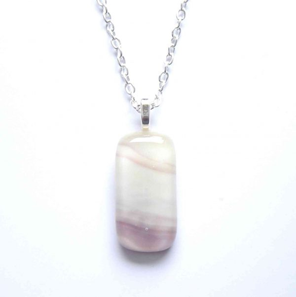 Cream & Purple Swirl Fused Glass Pendant