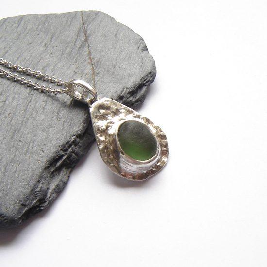 Green Sea Glass Silver Bezel Pendant