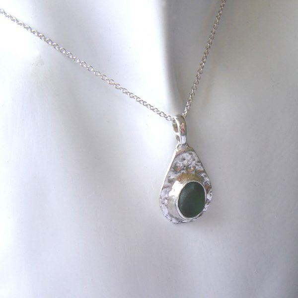 Green Sea Glass Silver Bezel Pendant