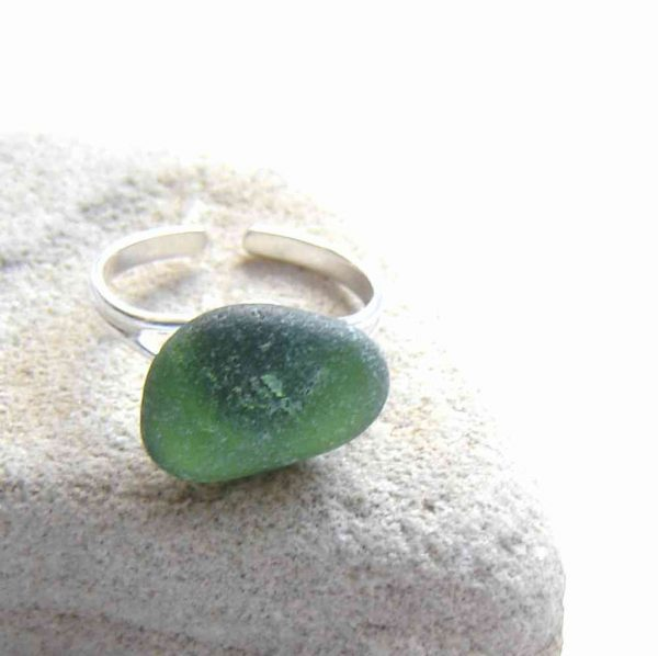 Emerald Green Sea Glass Adjustable Ring in sterling silver, handmade with genuine sea glass hand-collected on the beaches of North East England.