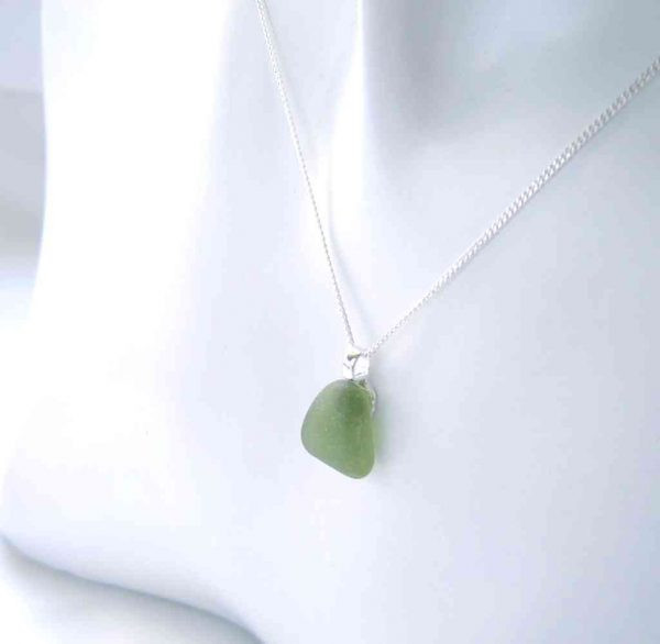 Emerald Green Sea Glass Pendant, handmade in genuine English sea glass hand-collected on the North East coast of England.
