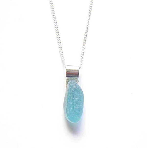 End of Day Turquoise Blue Seaglass Necklace in English sea glass hand collected on the Northumbrian coast, set in sterling silver.