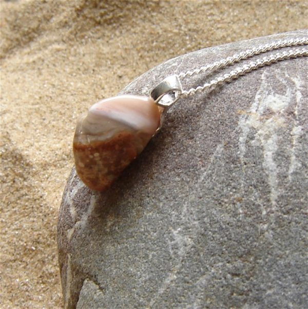 Pink Agate Necklace in Sterling Silver in agate hand-collected in Northumbria, England, United Kingdom.