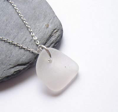 Frosted White Northumberland Sea Glass Pendan