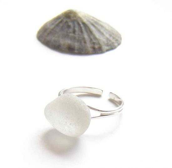 Frosted White Northumbrian Sea Glass Ring. This sterling silver sea glass ring is handmade in Northumbrian seaglass from the North East coast of England, UK.