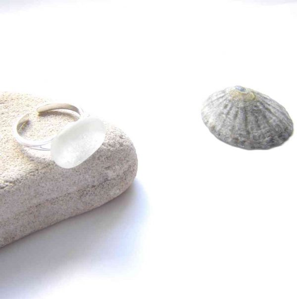 Frosted White Sea Glass Adjustable Ring in Northumbrian seaglass from the North East coast of England, UK