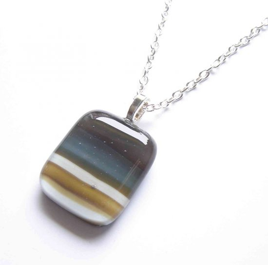 Banded Agate Effect Fused Glass Pendant