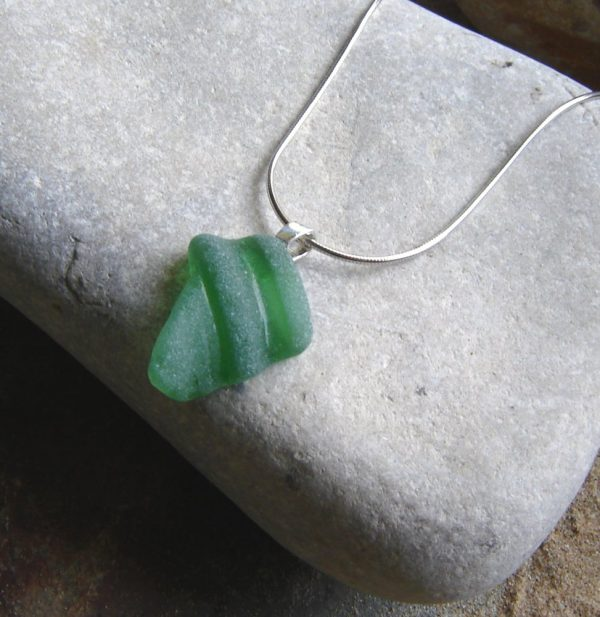 Green Bottle Neck Sea Glass Pendant Necklace, in sea glass hand-collected along the Northumbrian coast of England, United Kingdom