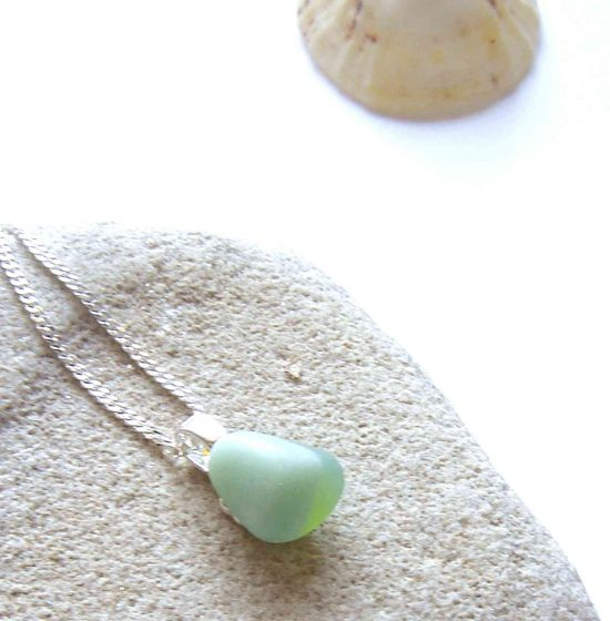 Green Jadeite Banded Sea Glass Pendant