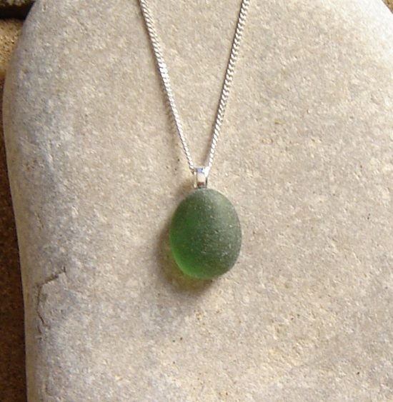 Green Frosted Sea Glass Necklace. Small Green Frosted English Sea Glass Pendant Necklace made in sea glass hand-collected on the Northumbrian coast of England.