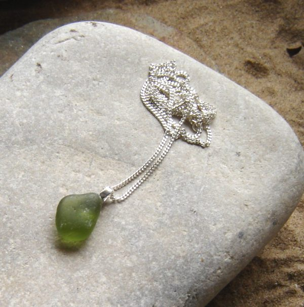 Emerald Green Sea Glass Sterling Silver Pendant in genuine English sea glass from the beaches of Northumbria, England.