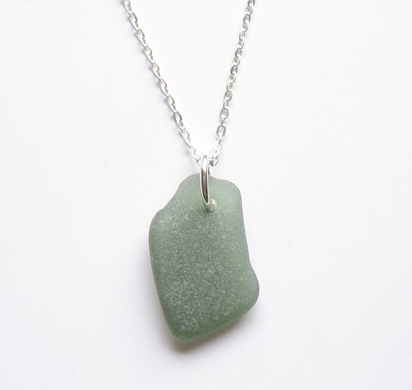 Green Frosted Sea Glass Pendant Necklace