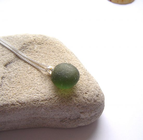 Green Frosted Sea Glass Pendant. Small Green Frosted English Sea Glass Pendant Necklace made in sea glass hand-collected on the Northumbrian coast of England.