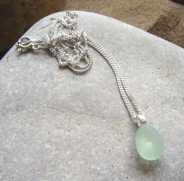 Tiny Green White Sea Glass Pendant in English sea glass hand-collected on the North East coast of England, United Kingdom