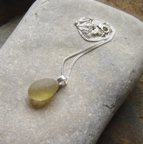 Grey Brown Frosted Sea Glass Pendant in genuine English sea glass from the beaches of Northumbria, England